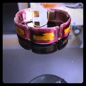 vintage mid century enamel brass cuff bracelet